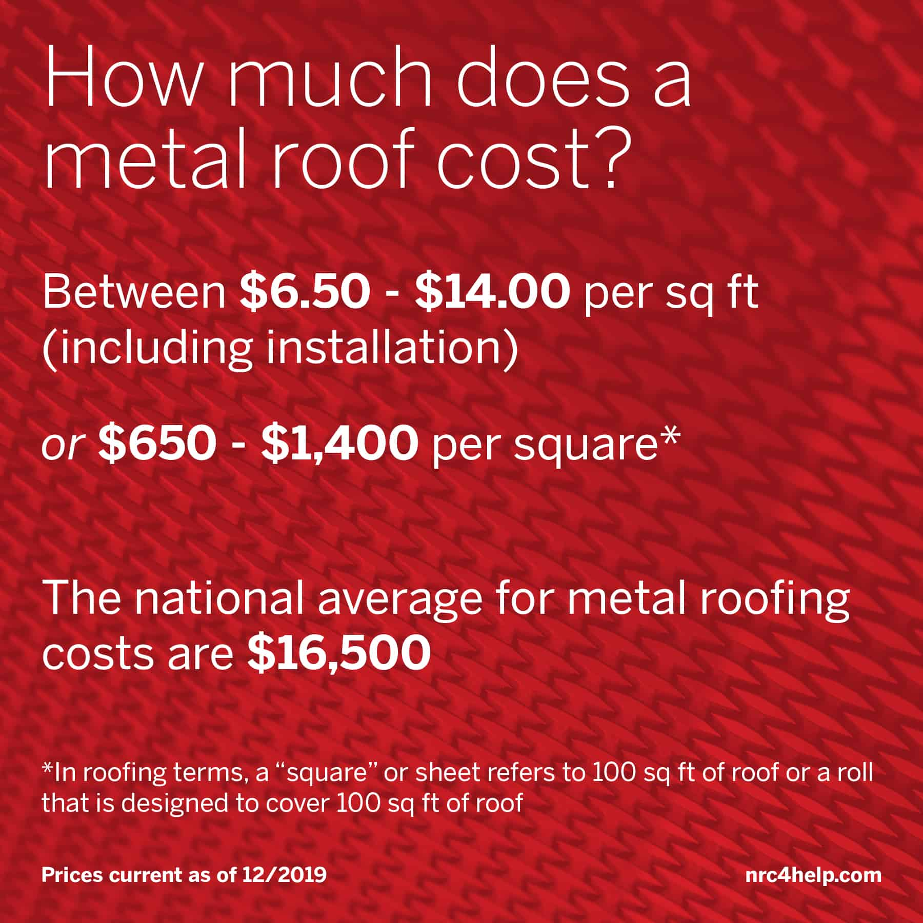 Metal Roof Cost Pricing Guide (As of March 2020)